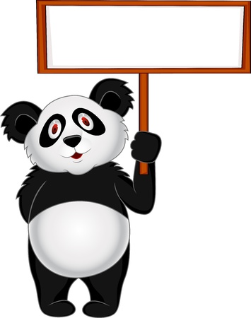 Panda with blank sign  Stock Vector - 13396203