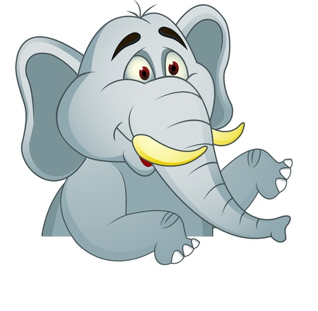 Elephant cartoon with blank sign  Stock Vector - 13446420