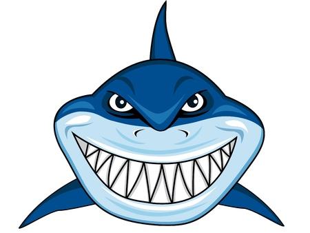 cartoon mascot: Smiling shark Illustration