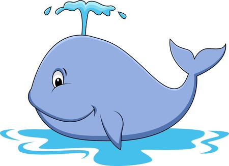 whale underwater: Whale cartoon