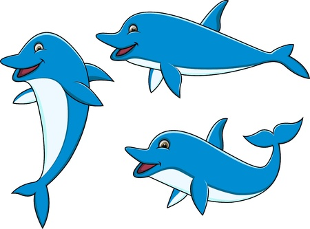 Dolphin cartoon collection  Vector