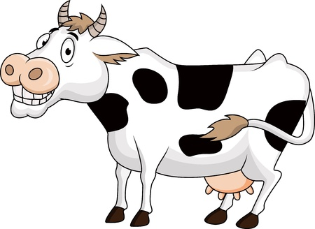 cows grazing: Funny cow cartoon  Illustration