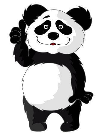 pulgar levantado: Panda de dibujos animados con el pulgar arriba