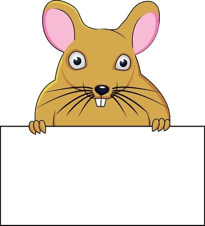 rata caricatura: Rata con el cartel en blanco Vectores
