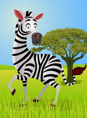 zebra cartoon in the jungle  Illustration