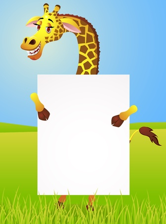 Giraffe with blank sign  Vector