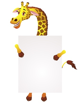 Giraffe with blank sign Stock Vector - 13446442