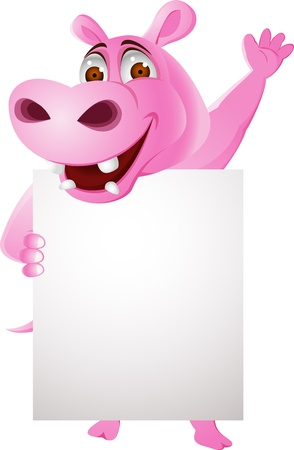 Hippo with blank sign  Stock Vector - 13446470