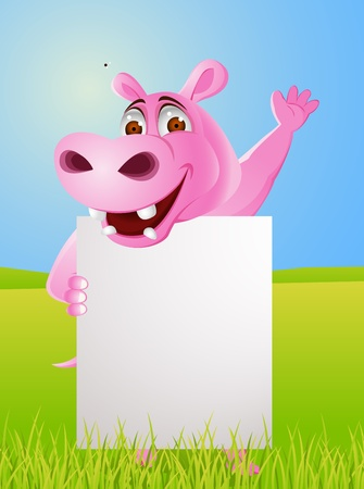 Hippo with blank sign  Vector