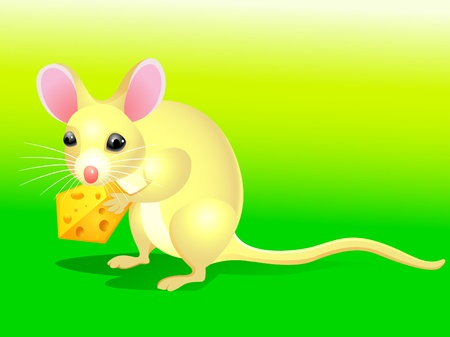 Cartoon rat with cheese  Vector