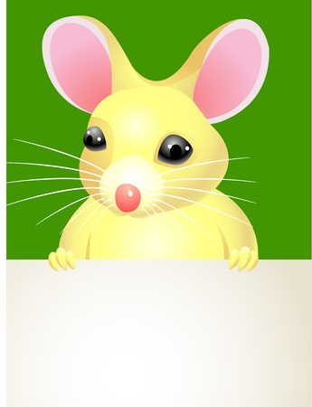 A cartoon mouse holding a blank sign   Vector