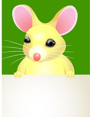 A cartoon mouse holding a blank sign   Vector