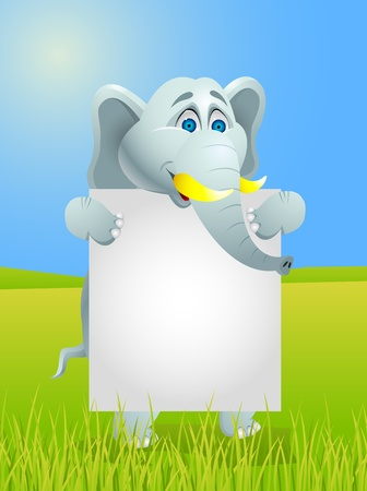 Elephant cartoon with blank sign  Stock Vector - 13494841