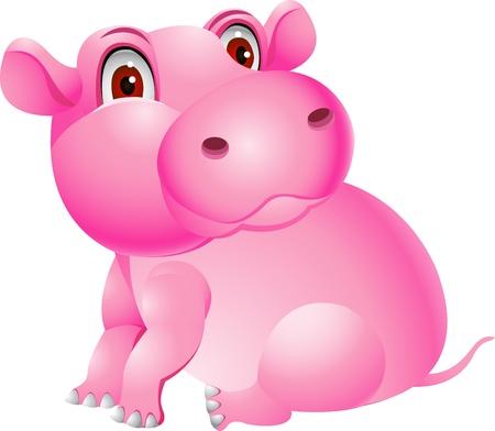 animales safari: Hipopótamo de dibujos animados