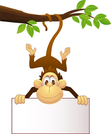 monkey illustration: Mono con el cartel en blanco