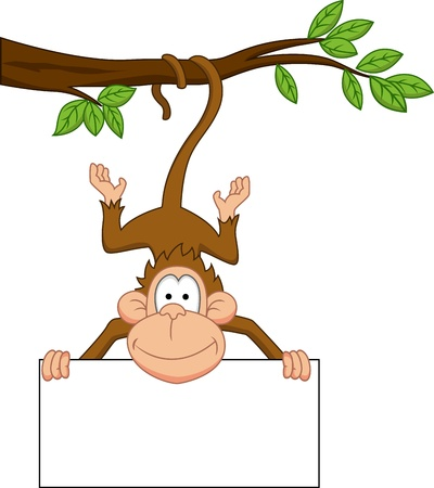 cute cartoon monkey: Monkey with blank sign