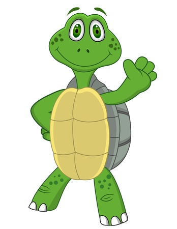 waving hand: Turtle with thumb up  Illustration