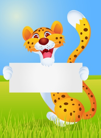Cheetah with blank sign Stock Vector - 13446464