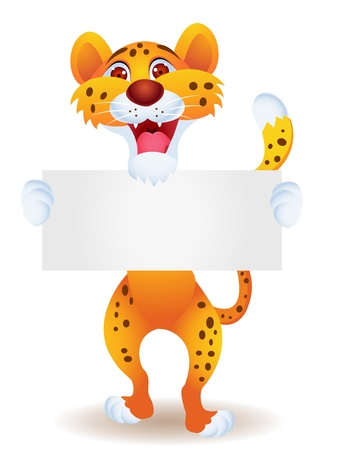 Cheetah with blank sign Stock Vector - 13446440