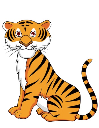 isolated tiger: Tiger cartone animato