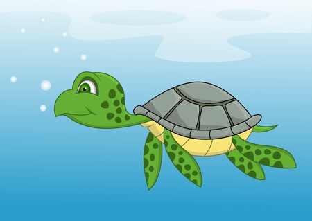 Turtle cartoon swimming  Vector