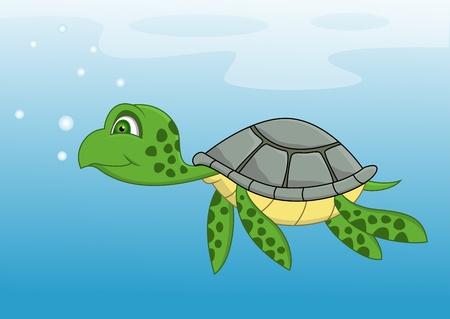 Turtle cartoon swimming  Vector