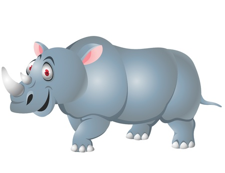 snuffelen: Rhino cartoon geïsoleerd Stock Illustratie