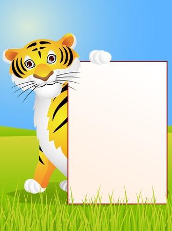 tigre caricatura: Tigre de la historieta con cartel en blanco Vectores