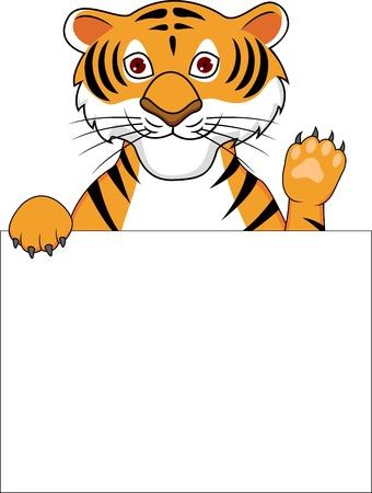 isolated tiger: Cartone animato Tiger con il segno in bianco