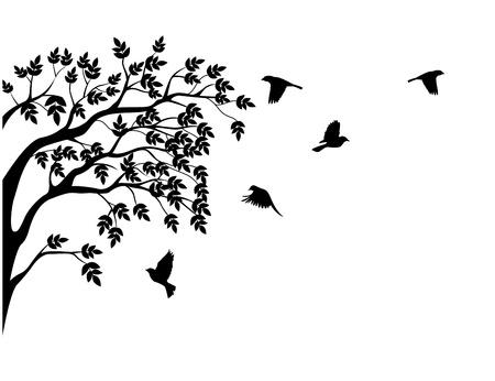 arboles blanco y negro: Árbol silueta con ave voladora Vectores