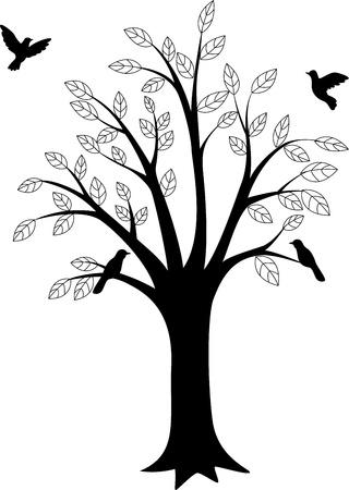 chene bois: Silhouette des arbres et des oiseaux
