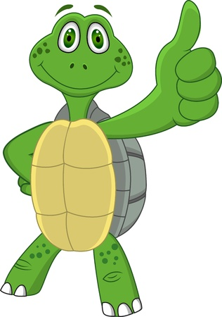 green thumb: Turtle with thumb up  Illustration