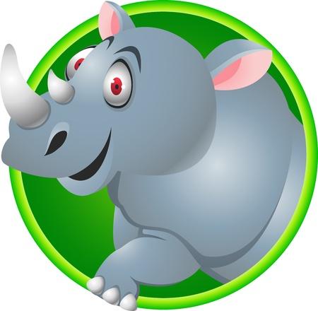 safari cartoon: Rhino cartoon