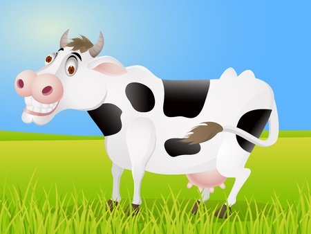 cows grazing: Cow cartoon