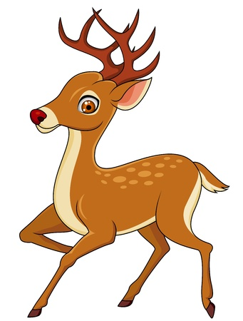 white tail deer: Deer cartoon Illustration