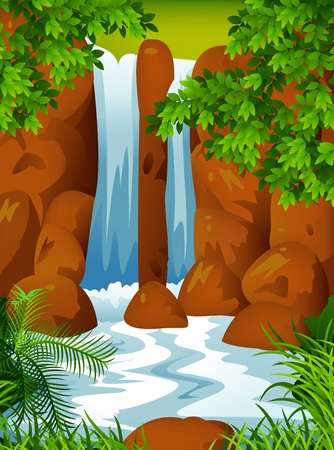 Waterfall background  Vector