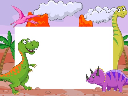 dinosaur cartoon with blank sign Illustration
