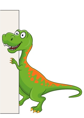 Tyrannosaurus cartoon with blank sign  Vector