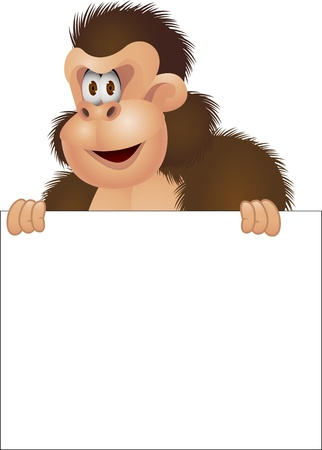 Gorilla cartoon with blank sign  Vector