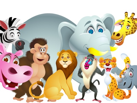 baboon: Animal cartoon group