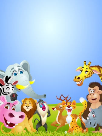 animal cartoon group Vector