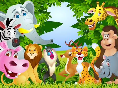 Animal cartoon group  Illustration