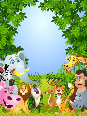 mandrill: Animal fumetto gruppo Vettoriali