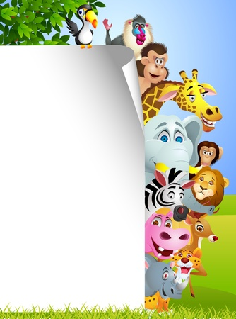 animales safari: Animal con la muestra en blanco