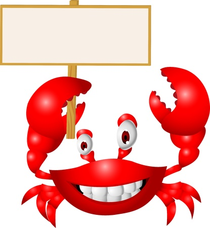 marine crustaceans: Crab with blank sign