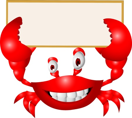 Crab with blank sign  Vector