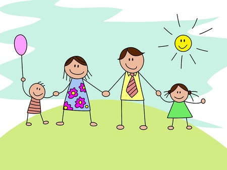 happy family isolated: happy family