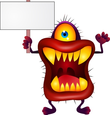 Monster with blank sign Stock Vector - 13496819