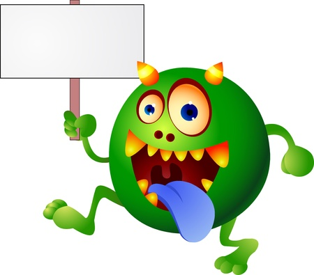 Monster cartoon with blank sign Stock Vector - 13496531