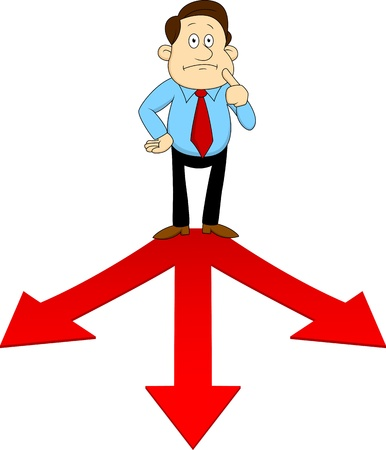choose a path: Businesspeople standing on the red arrow